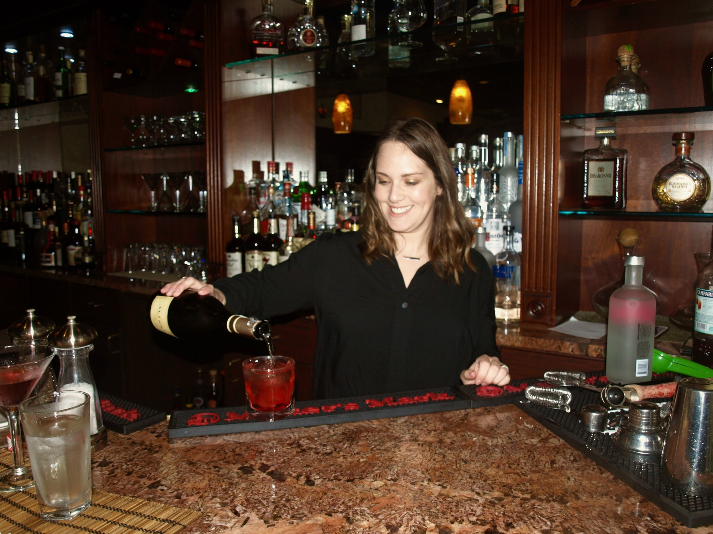 Bartender, Jessica Chaimowitz serves up a spring cocktail.
