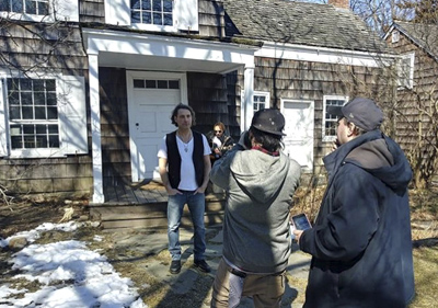 Lamont and Kruz filming at the Walt Whitman Birthplace.