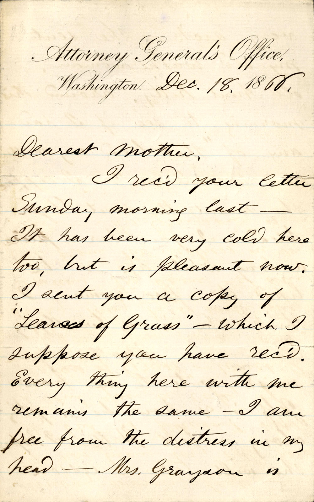 A letter Whitman wrote to his mother in 1866 during the time he was employed by the Attorney General's office.  NYPL Astor, Lenox and Tilden Foundations