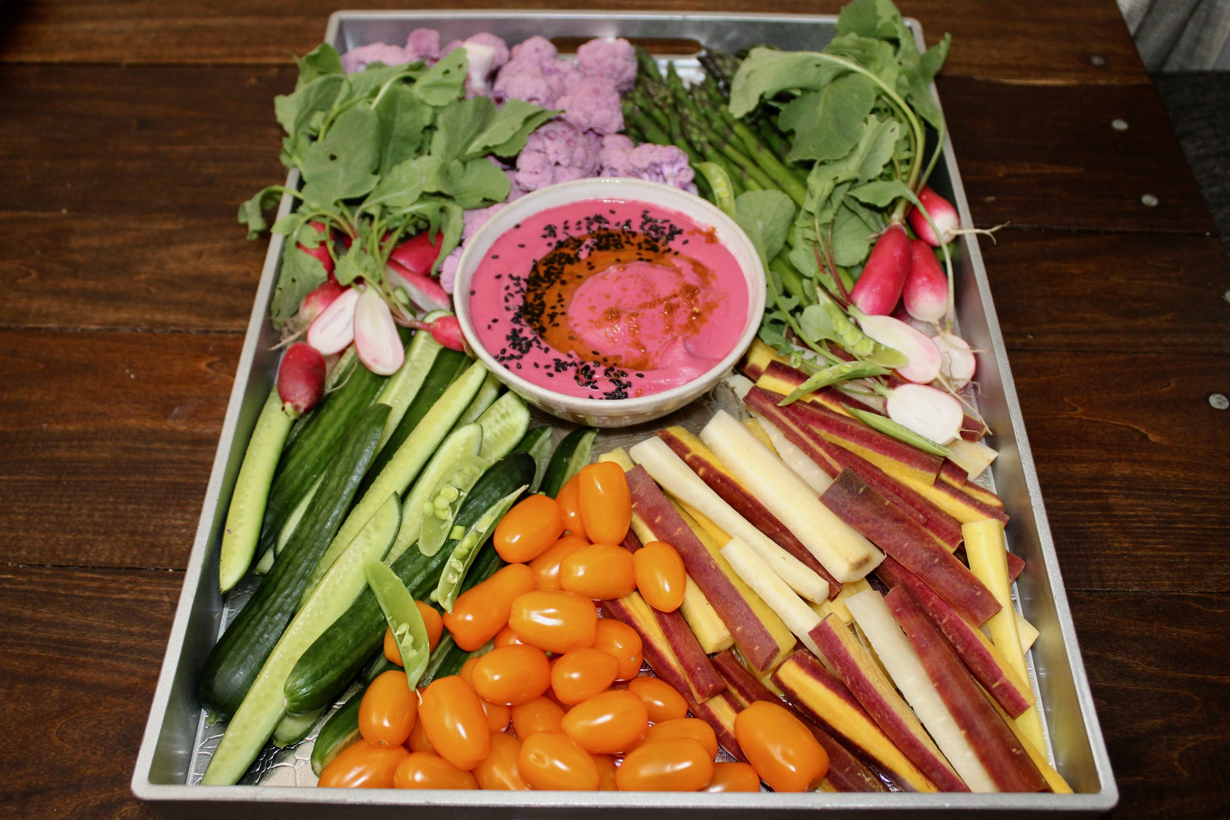 Seasonal Crudités with Beet Hummus