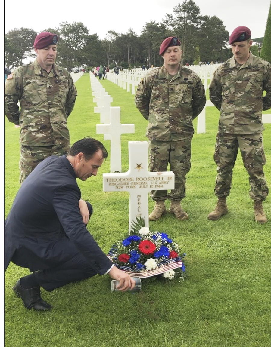 US. Rep. Tom Suozzi laid wreaths at the graves of local service members buried in the American Cemetery at Colleville-sur-Mer, France, as part of a delegation marking the 75th anniversary of D-Day.