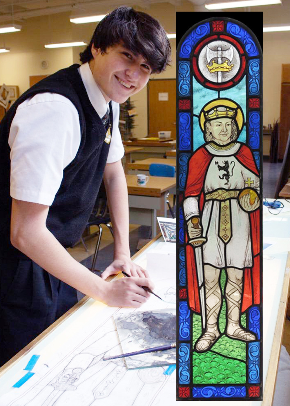 St. Anthony's High School freshman art student Matthew Meberg helped make a stained glass window that will be installed in the school's chapel.