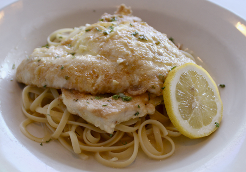 Chicken Francaise is light with a lemon butter wine saucw