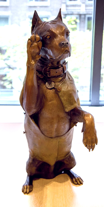 "Bahary's scupture ""Stubby Salutes"" captures the moment when Sgt. Stubby charmed his way on board an Army transport ship by saluting."