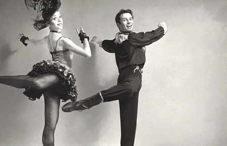"""Frank Ohman as a principal with the New York City Ballet dances Balanchine's """"Western Symphony!"""" with Gloria Govrin."""