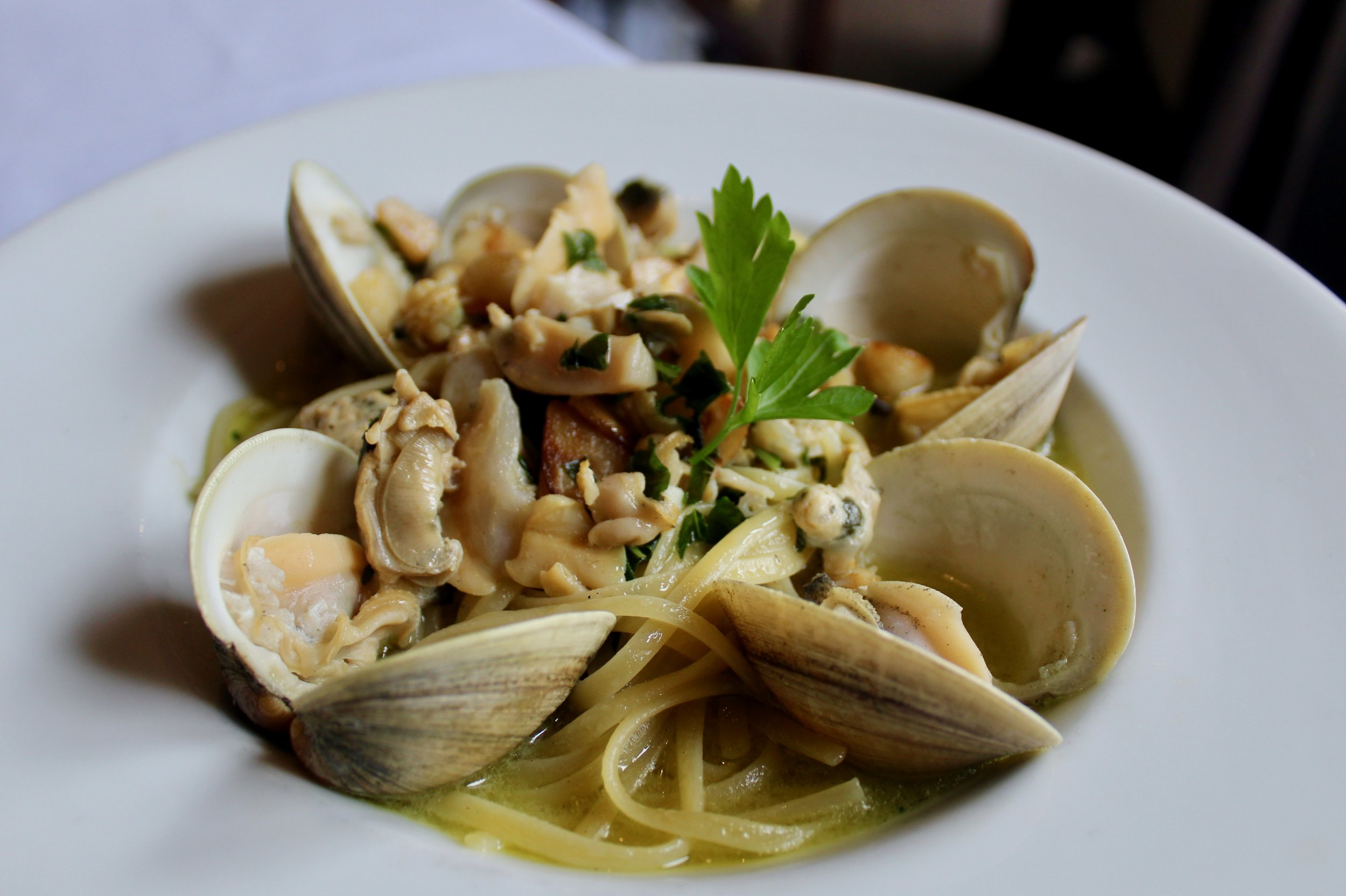 Linguine and Clams, made with fresh Little Neck clams.