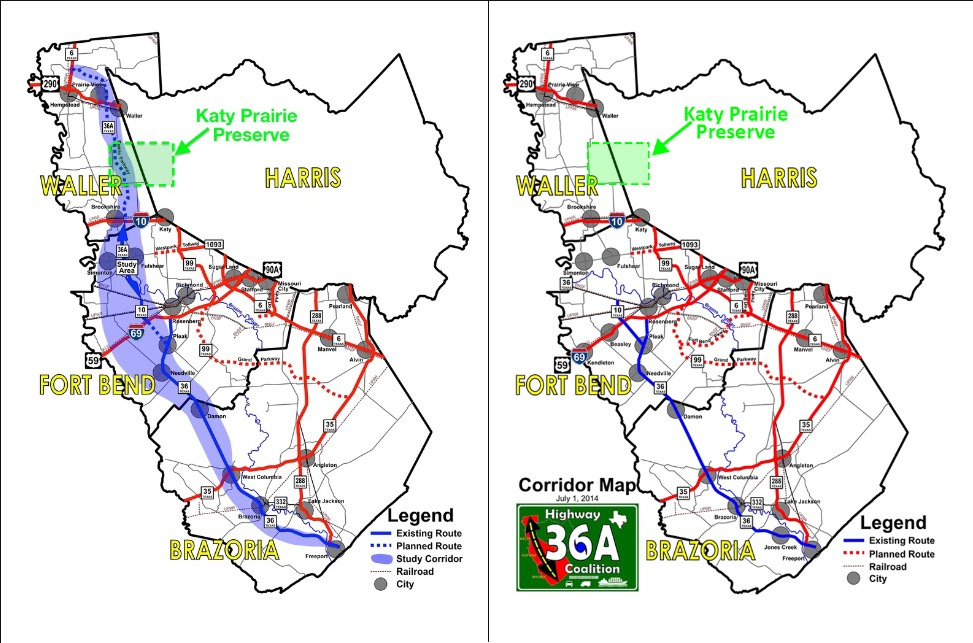 Above, Left: Hwy 36-A Coalition's route through the region as originally proposed. Above, Right: Hwy 36-A Coalition's current proposed route through the region.  Source:  Hwy 36-A Coalition.   NOTE: Maps modified solely to reflect Katy Prairie Preserve System.