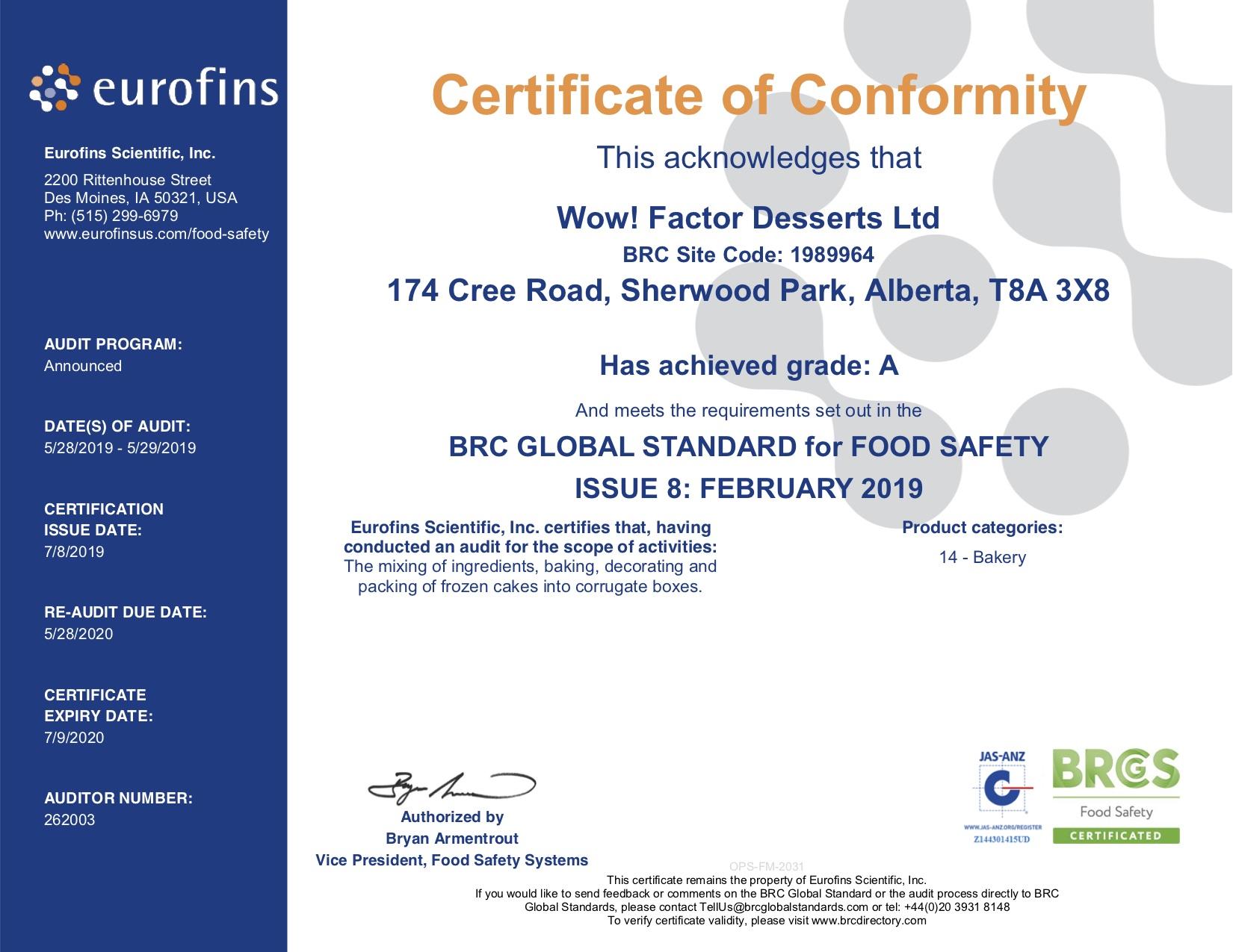 BRC Certificate - Wow! Factor Desserts Ltd 2019.jpg
