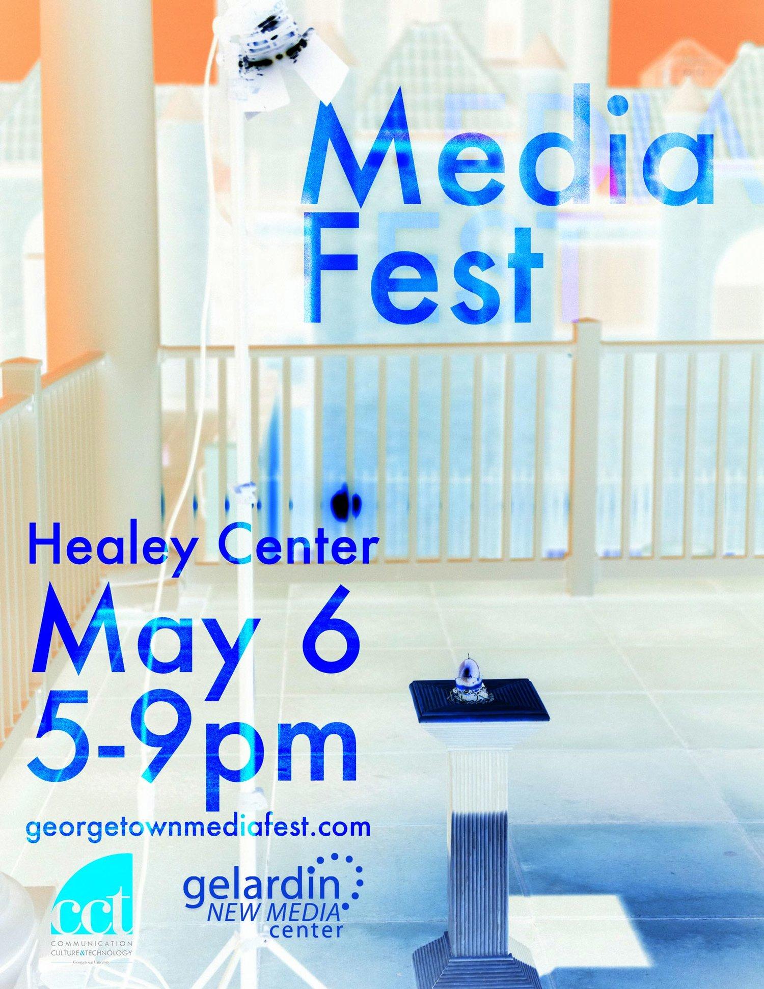 Media Fest 2016 featuring art by Sam Redd of media fest 2015