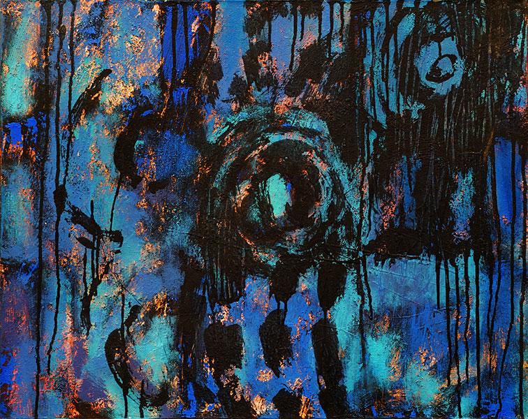 Dark Night. Mixed Media on Canvas. 24x30