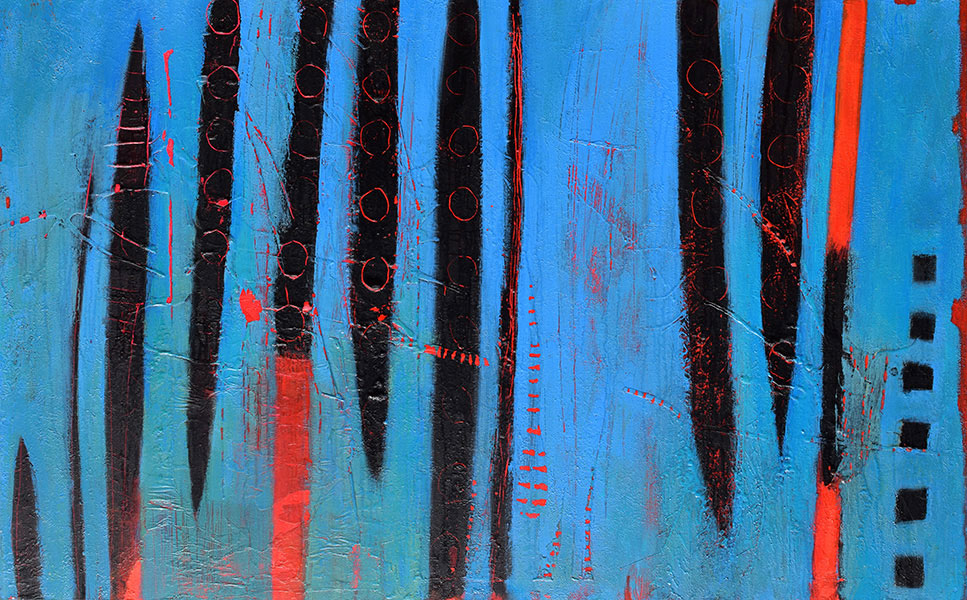 Blue Black Red. Mixed Media on Canvas. 30x48