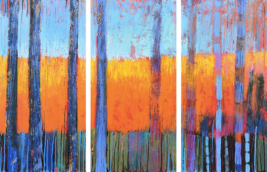 That Forest 3. Acrylic on Canvas. Triptych 36x54