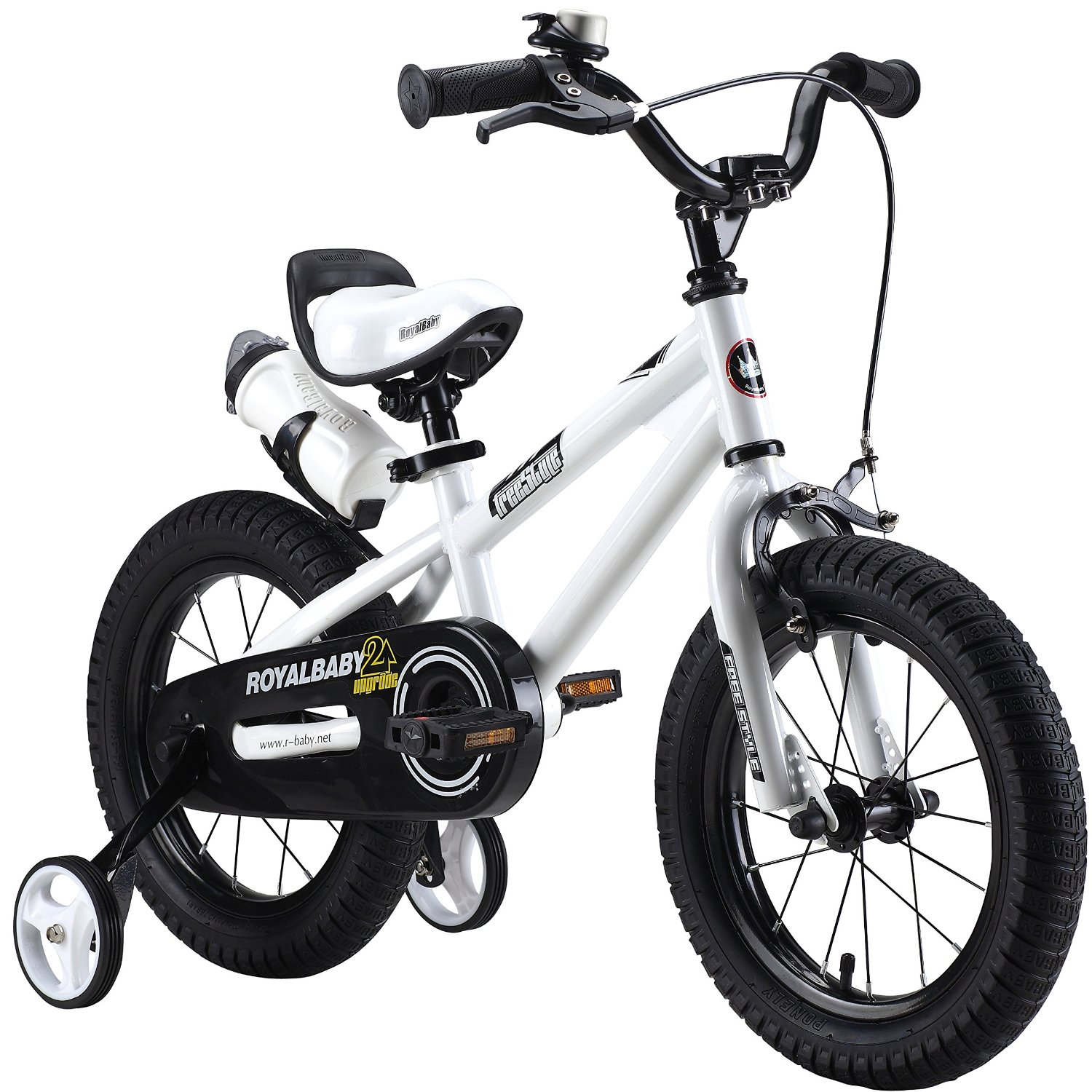 RoyalBaby Bike in White. Kids bike in sizes 12, 14, 16 and 18 inches, available in five solid colors. -- via TheNourishedMama.com