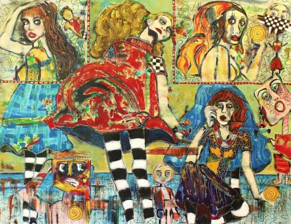 All the world's a stage, its players merely marionettes 48 x 55 .jpg