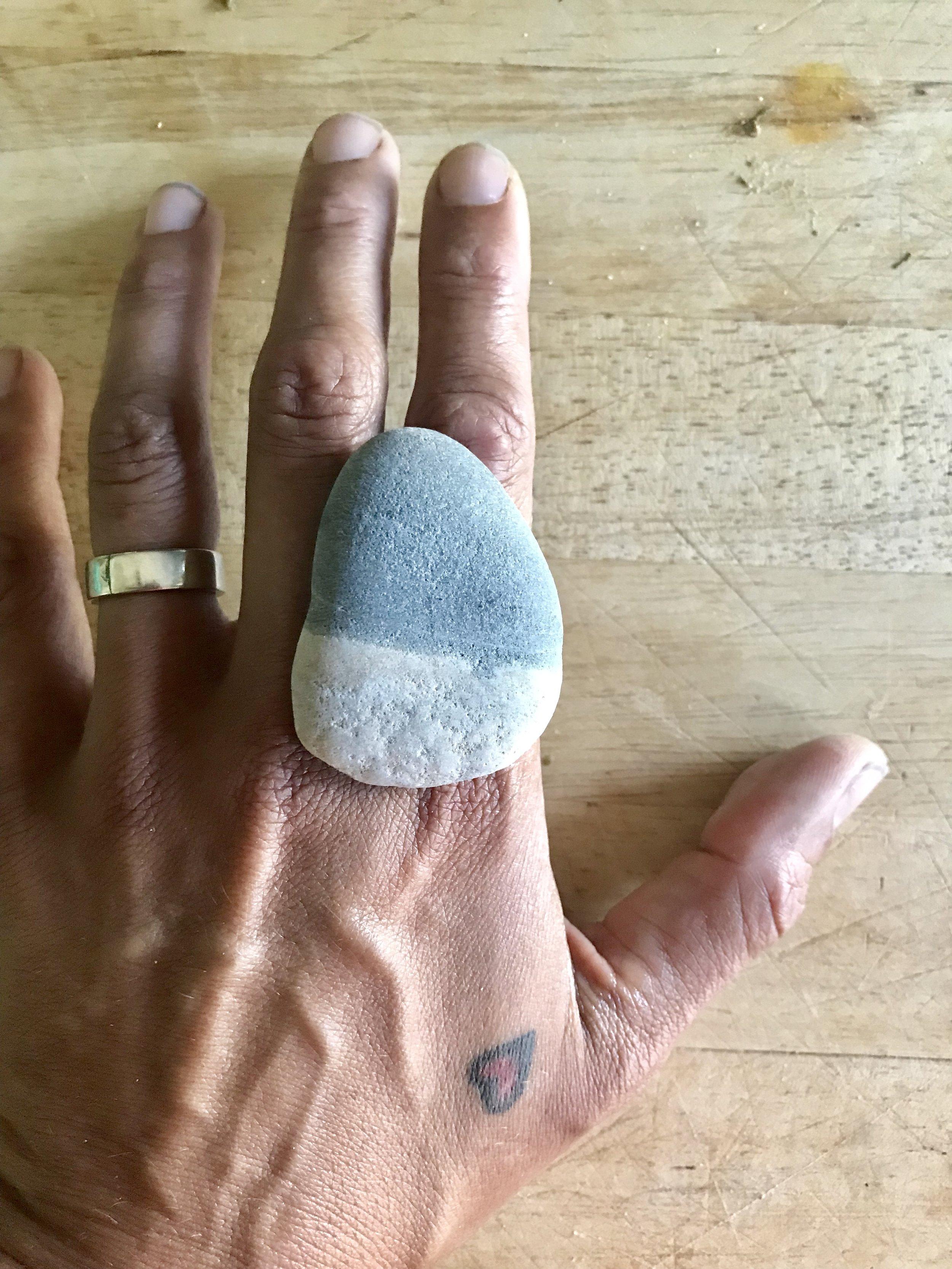 maine beach pebble - landscape - on hand
