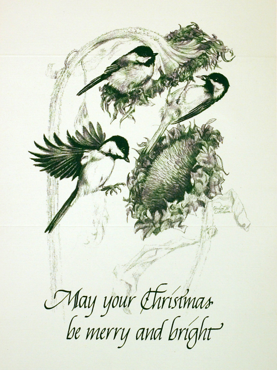 """""""May your Christmas be Merry and Bright""""    (Chickadees)"""