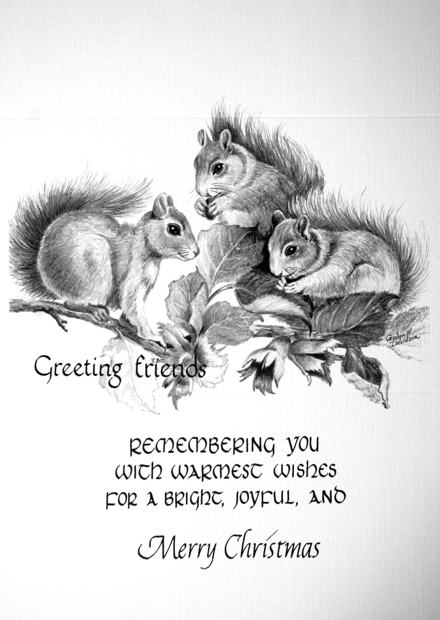 """""""Greeting friends""""    """"Remembering you with warmest wishes for a bright, joyful, and Merry Christmas""""    ( squirrels )"""