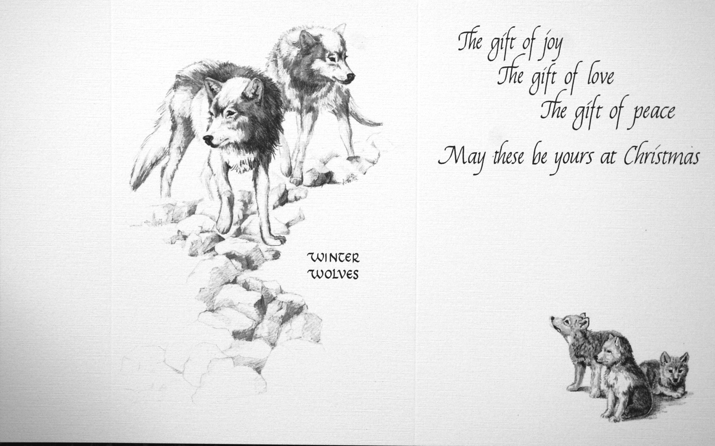 """""""winter wolves""""    """"The gift of joy The gift of love The gift of peace May these be yours at Christmas""""    ( Wolves )"""