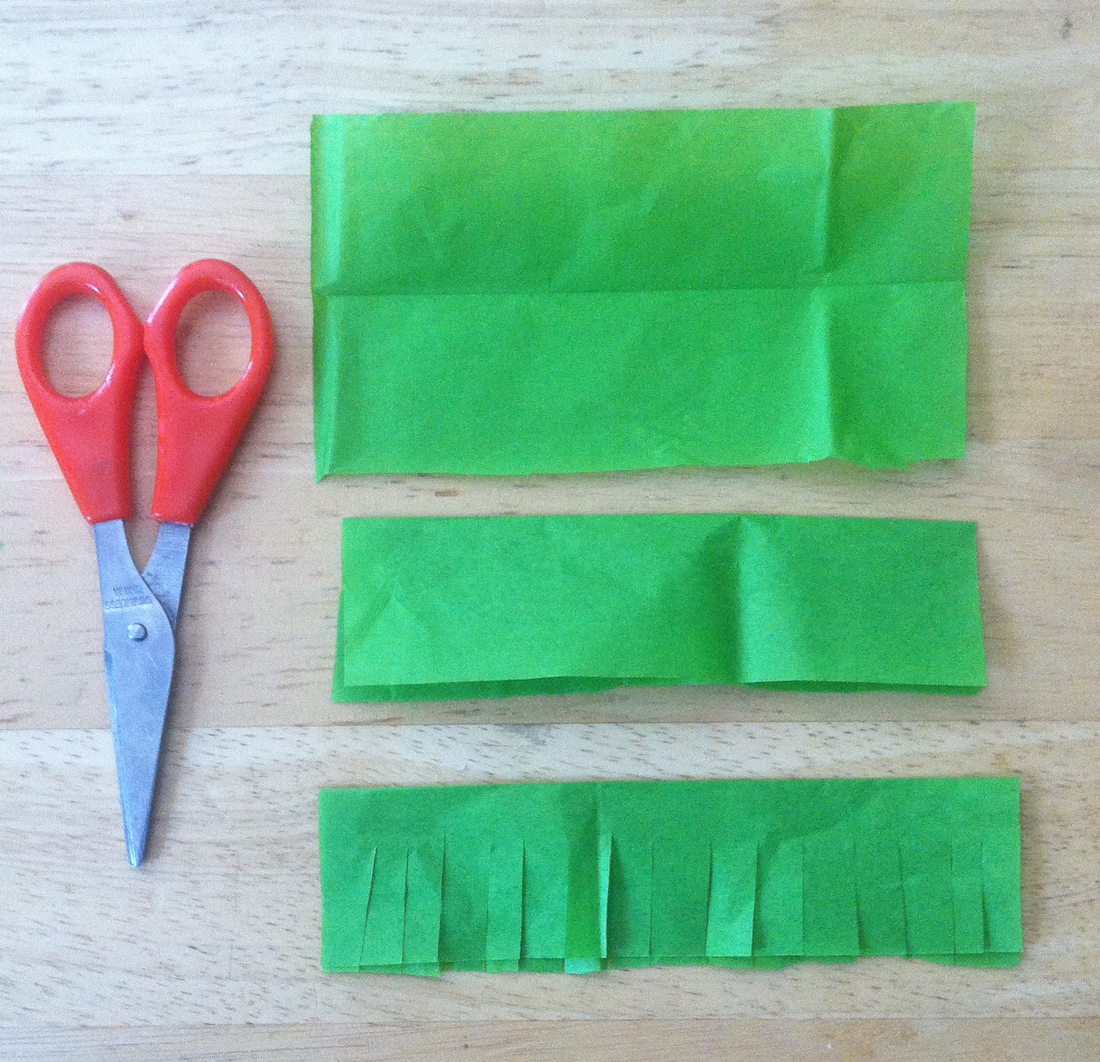 Note: this is just a demo. If you cut your strips this small, you will be making a piñata for the next 200 years!!!