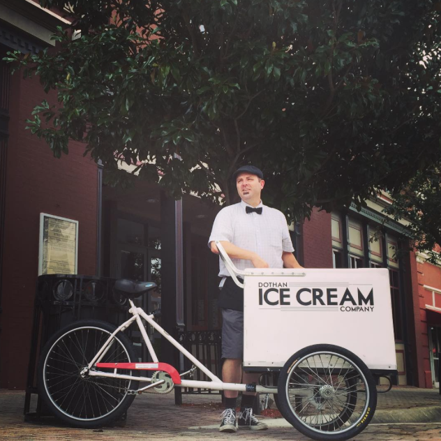 We have two ice cream trikes, two smaller carts and one large cart.