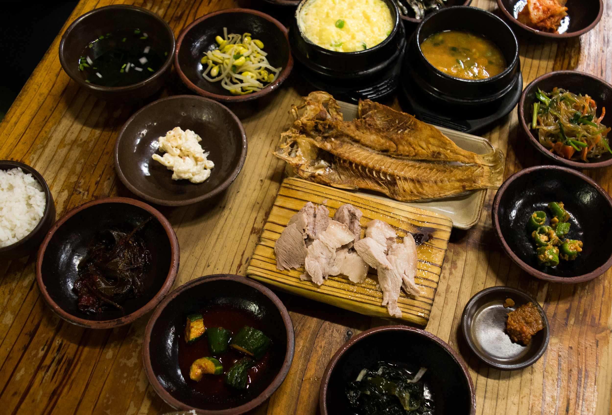 black pork, fried fish, and everything else we could possibly want.