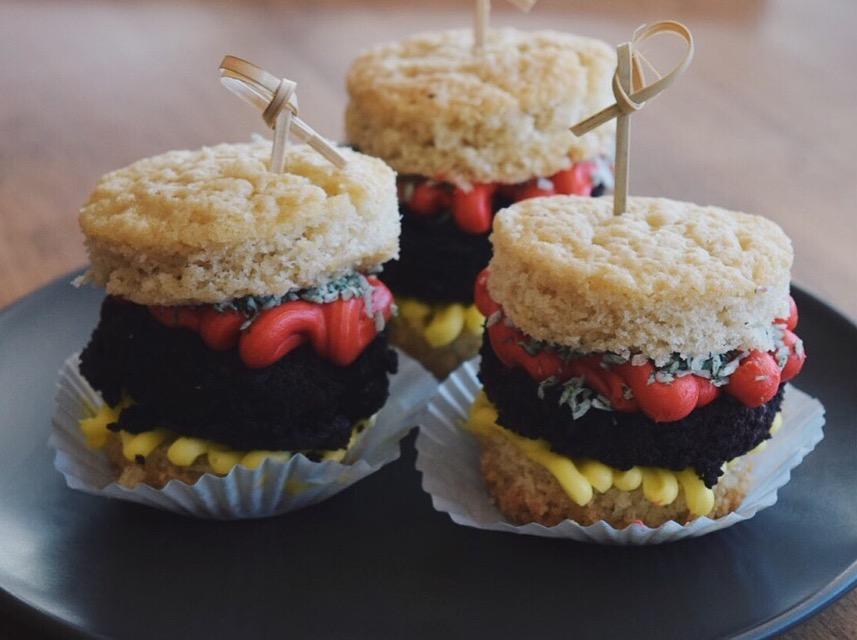 April Fools Day Burger Cupcakes