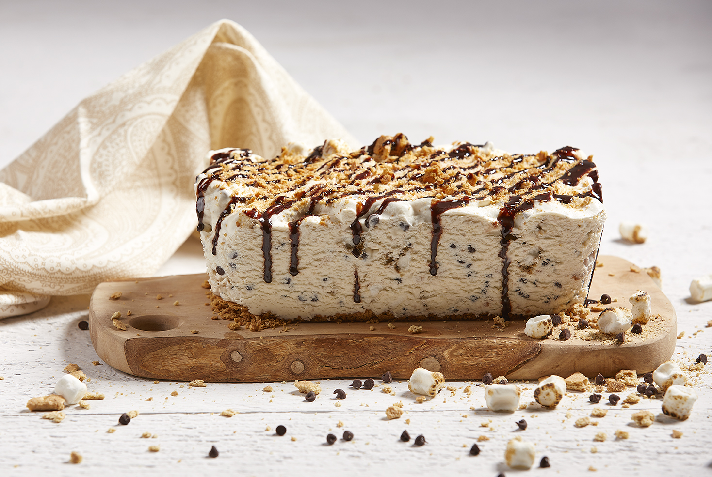S'mores No-Churn Ice Cream Cake