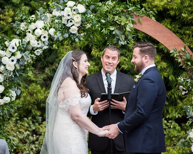 """I can't thank you enough for the amazing job you did officiating our ceremony!! We received so many compliments from our family and friends that our ceremony was perfect! They all said you did such an incredible job incorporating both of us into the ceremony and it was so personal."" -Bride  #officiant #orangecounty #weddingwire #theknot #weddingcake #wedding #weddingdress #weddingphotography #weddingday #orangecountyweddings"