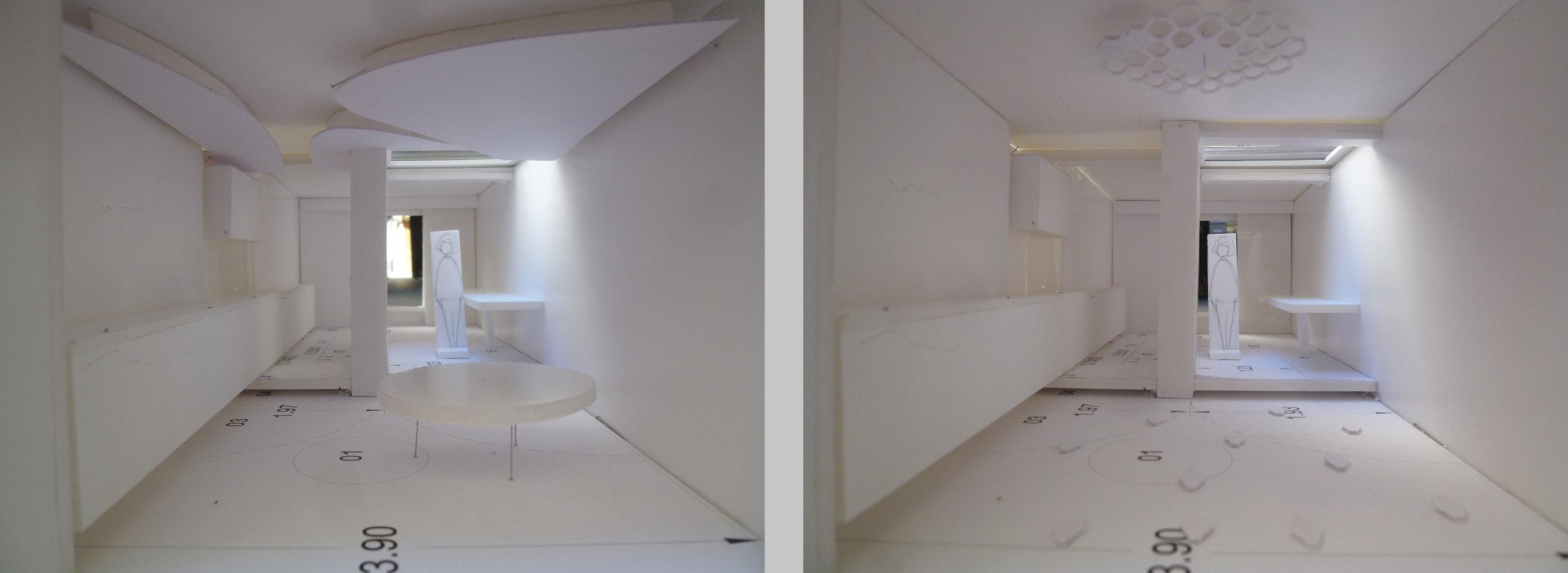 Il y a eu de nombreuses maquettes d'études avant de trouver le concept idéal pour ce showroom et atelier lumière