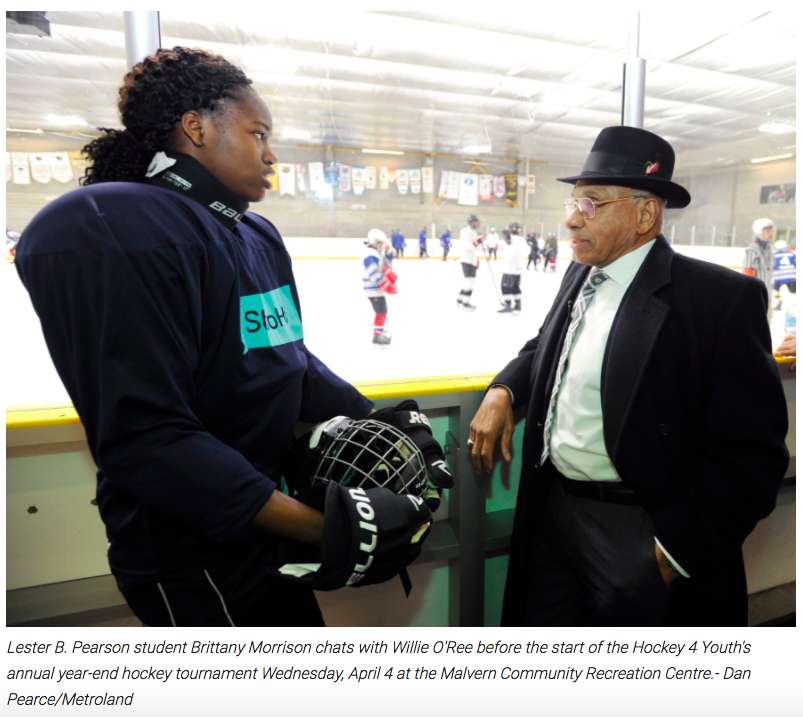 Article by Aaron D'Andrea focusing on  inspirational visit by Mr. Willie O'Ree  to Hockey 4 Youth students participating in year end tournament.