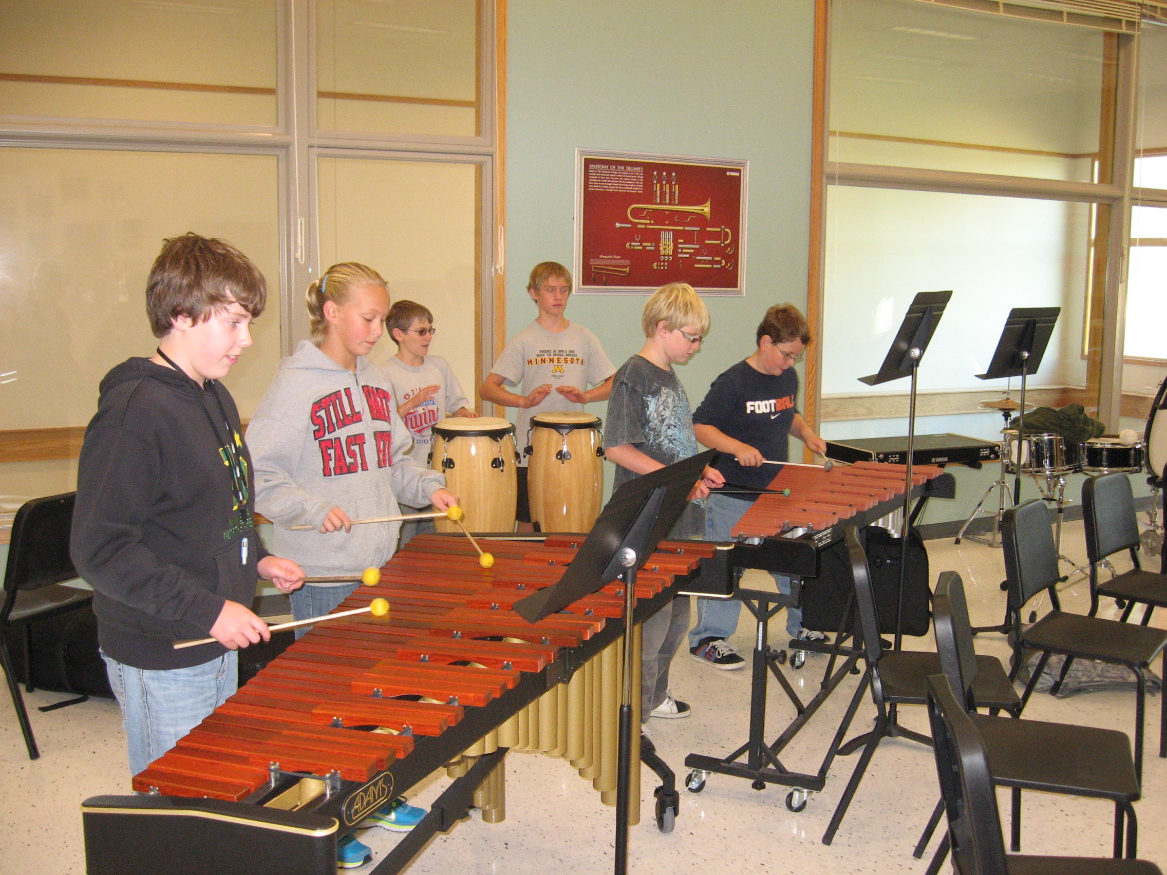 early attempt at a percussion ensemble. must have been a non-uniform day.