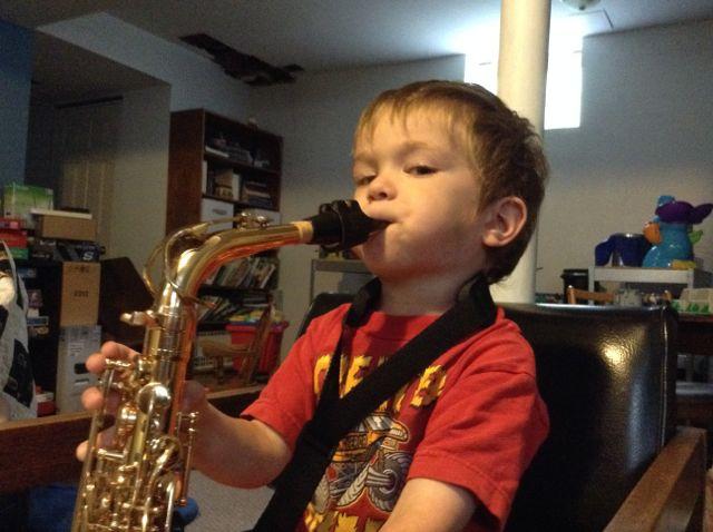 An aspiring young saxophonist...