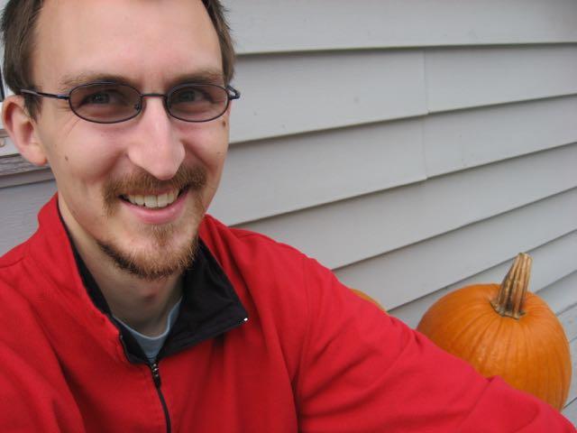 Winner Hangs with Pumpkin