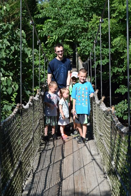 (suspension bridge in the gardens)