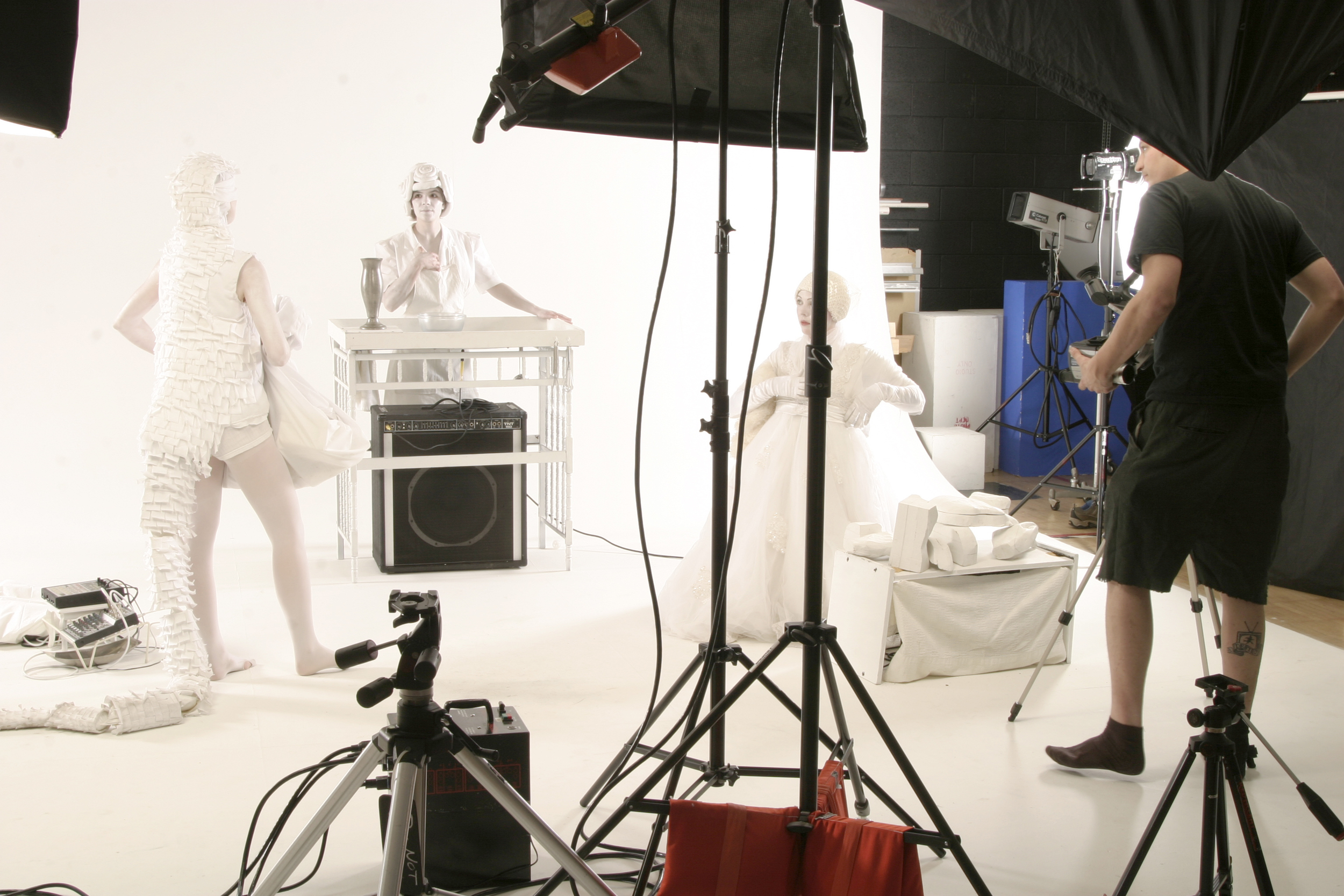 Tina Matthews. Eve Warnock, Gendala Kelli Anna, and  Nathan Ober  shooting a music video.  Photo by  Aaron Geiser .