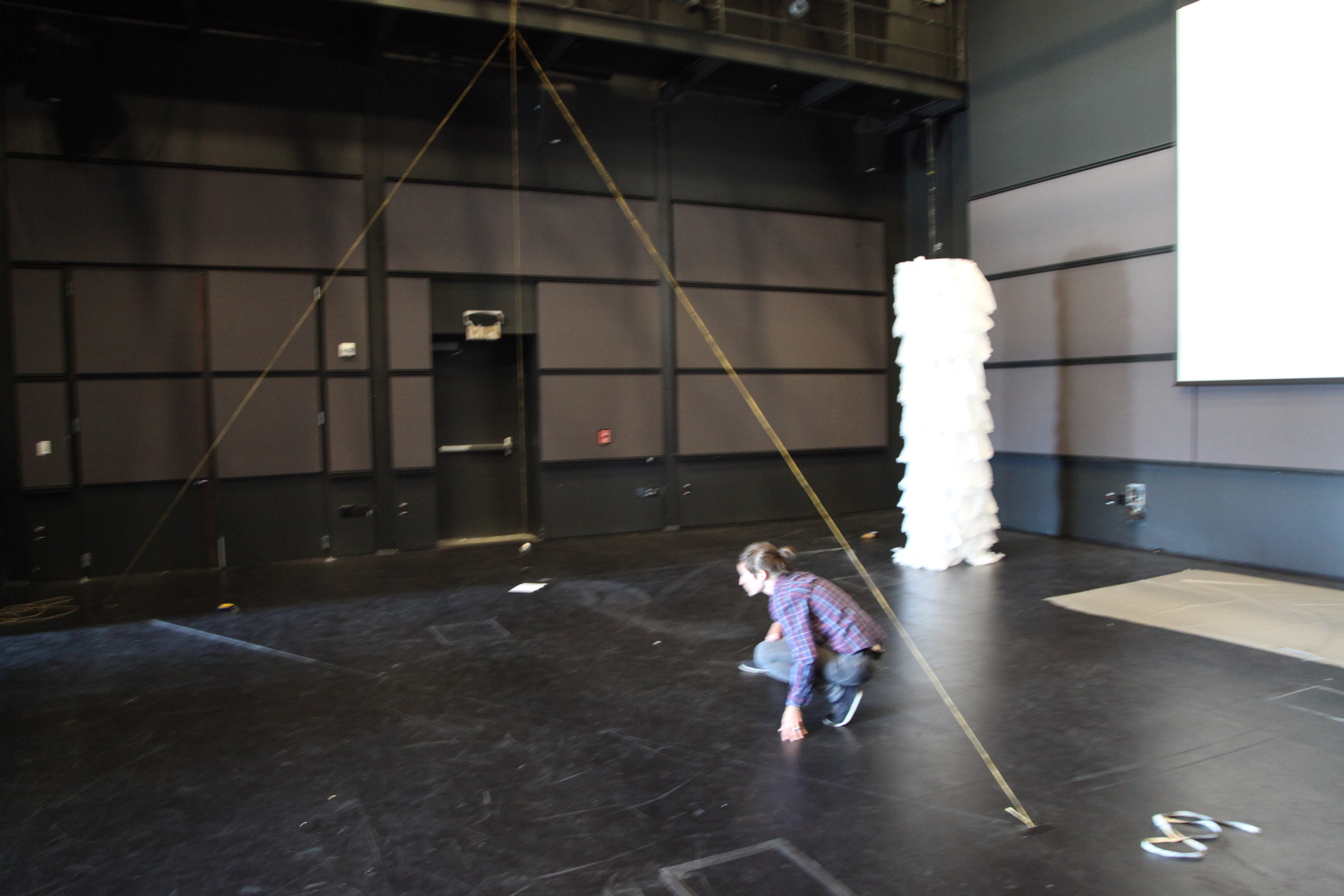 Mapping dimensions for a giant performance pyramid for  Denizen, UCSC black box, 2012.