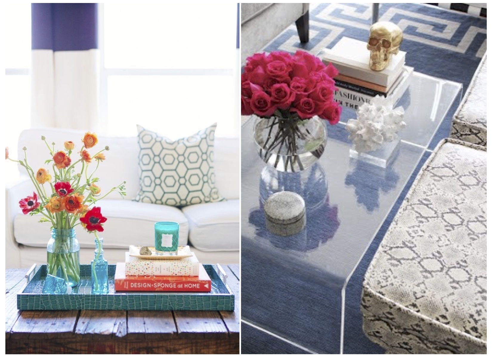 Refreshing your coffee table scape is really easy and fun to do by swapping out the tray with a vibrant colored one, adding a yummy scented candle and finishing it off with abouquet of fresh flowers. Picking up a couple inexpensive accent ottomans with a fun color and/or pattern adds interest and more seating. This is something we love to include in our furniture design packages!