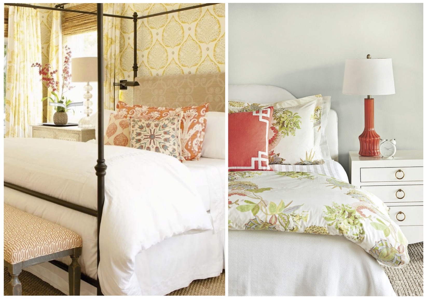 Again, swapping out accent the pillows, throw blankets or coverlets is a very easy way to mix it up for spring! OR something that I love to do is to have a whole different bedding set for the spring/summer season -duvet, shams, sheets, throw pillows and blankets.