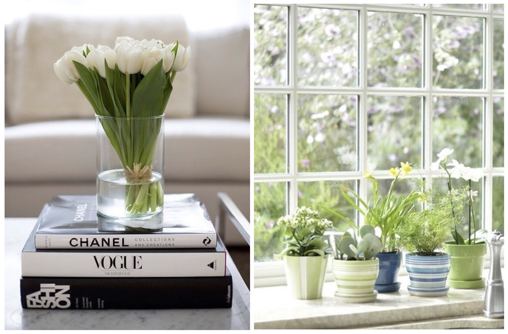Last but not least, infusing greenery throughout your home -adding fresh flowers of the season or planting an indoor herb garden - is the best way to bring the outdoors in and welcome the spring season into your home.