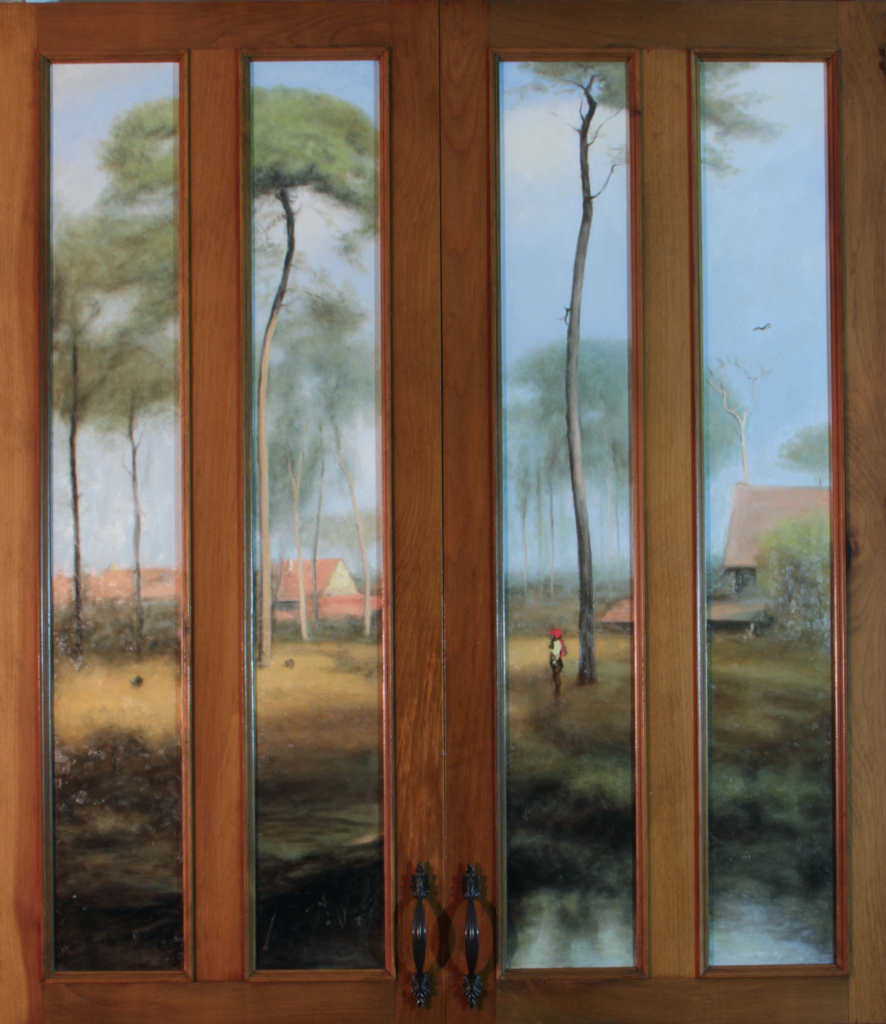 Innes Copy  , Oil on wood panel cabinet doors