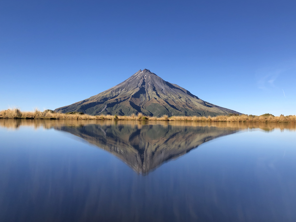 Mount Taranaki reflected at the tarns