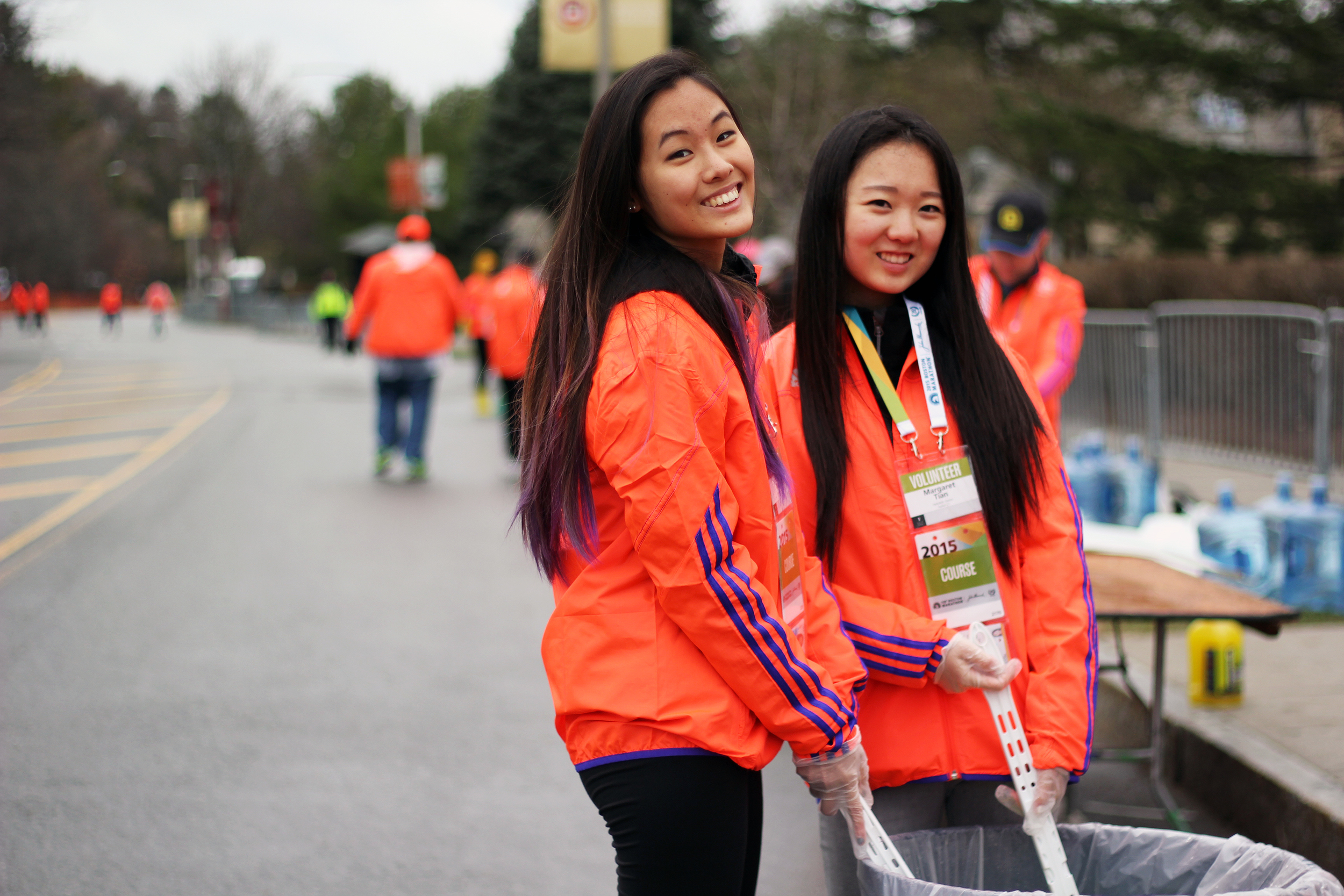 Sisters helping runners cool off at the Boston Marathon in 2015—we send volunteers to the Marathon every year!