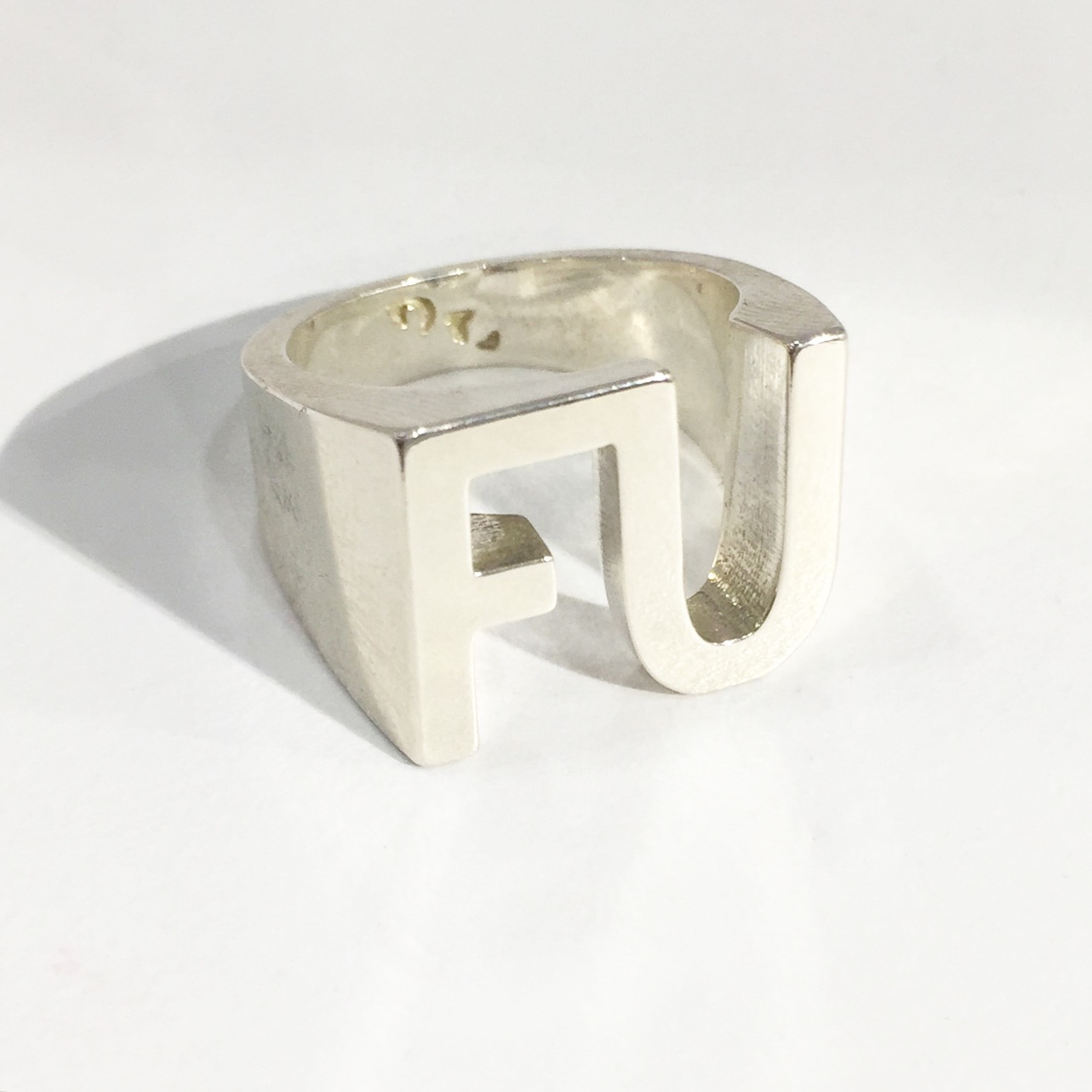 A close up of our soon to launch FU Ring in Sterling Silver, this piece stole the show
