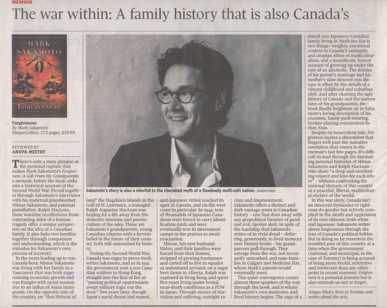The Globe and Mail , Saturday, July 19, 2014  Click on image to open article in a new window.