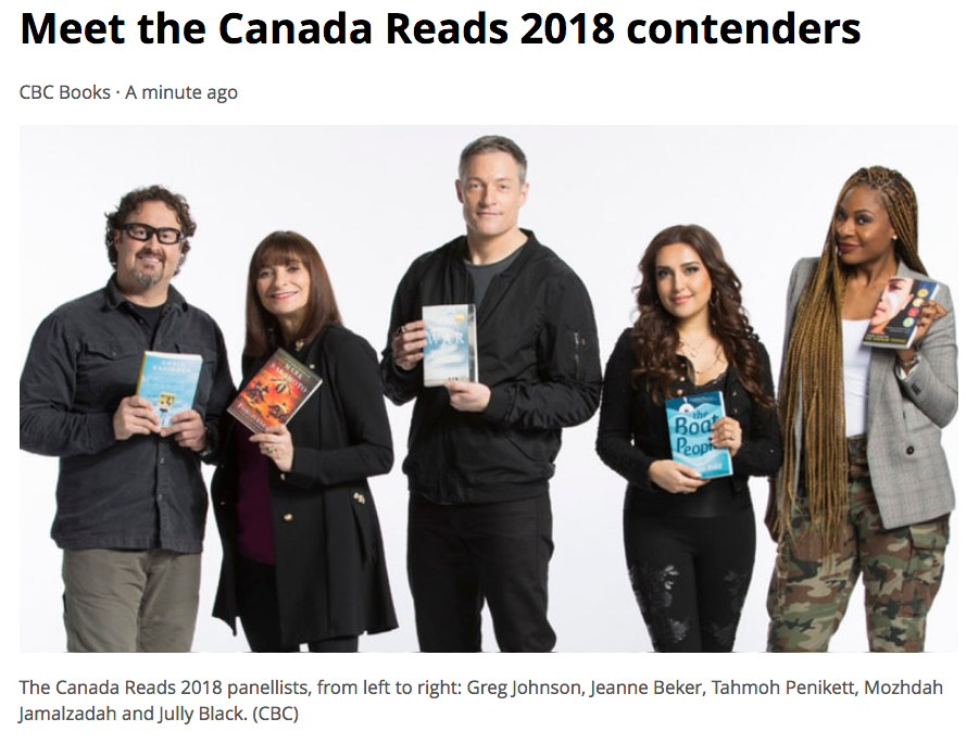 FORGIVENESS  makes the  Canada Reads shortlist,  January 30, 2108.