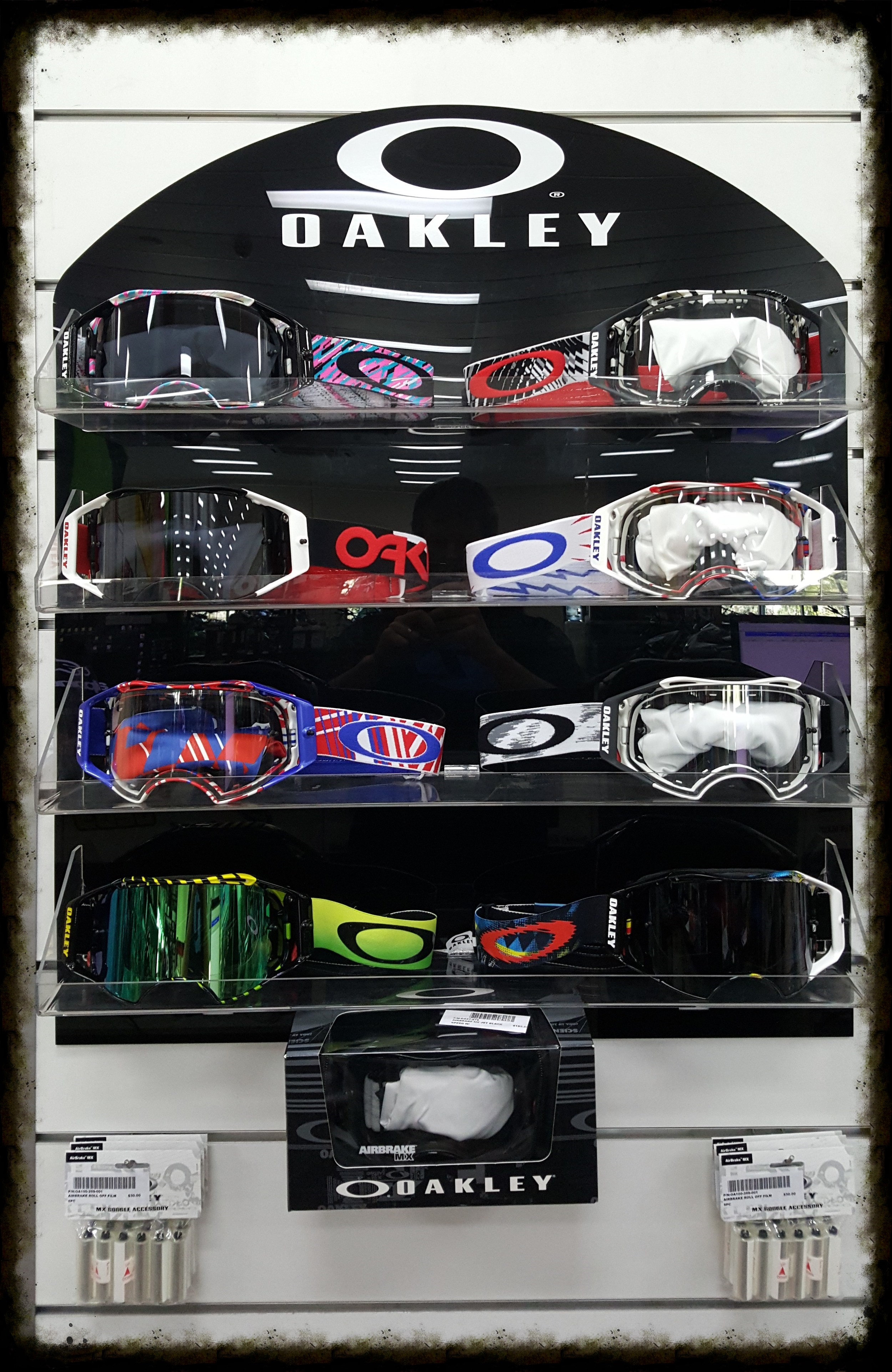 range of Oakley airbrake goggle - new to store. we also stock other brands & spare lenses.