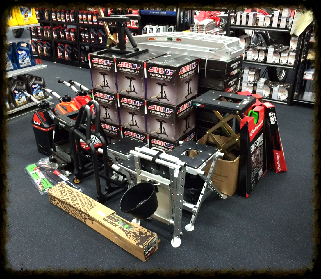 range of mx lifts & standsand road bike paddock stands - we carry a wide range in stock