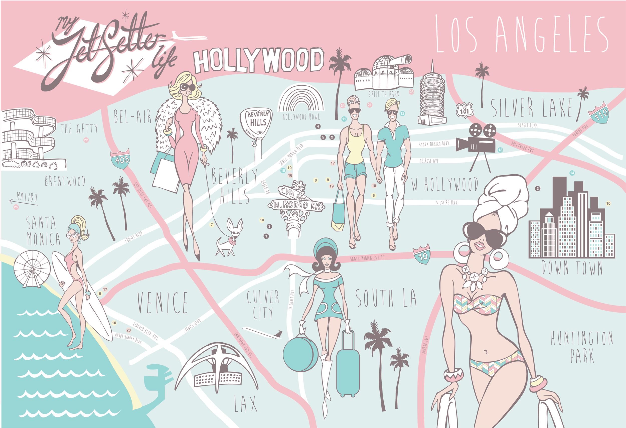 My JetSetter Life Los Angeles map