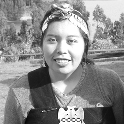 Nadia Painefil Curiqueo  Nadia Painefil Curiqueo and her family are pioneering cultural tourism with the Mapuche Lafkenche Lago Budi Tourism Committee since 2008 (lagobudi.cl). In 2012, she was delegated by the Llaguepulli Community as a liaison with MAPLE Microdevelopment. She has since become a leader first in the initial participatory research team with MAPLE in 2013, and since 2014, as part of the management team. Together with Silvia Calfuqueo, and the Mapuche filmmaker Juan Raín, she has collaborated with MAPLE Microdevelopment in documenting reflections of the creation of the Grupo de Apoyo Mutuo. She enjoys sharing with others her Mapuche culture, history and ways of life, and she currently offers a unique demonstration of traditional practice of textiles to visitors, where each symbol has its own meaning. Nadia is a leader in establishing relationships with other First Peoples communities, participating through MAPLE in an exchange of gifts with the Siletz Nation of Oregon in 2015, and in 2016 representing the Mutual Support Group in a tour to New Zealand for exchange of Maori/Mapuche self-development experiences.