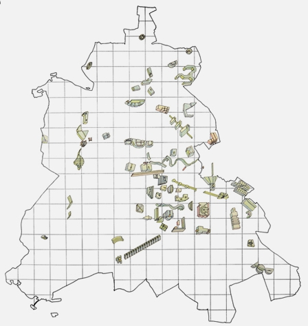 Cities within the city, Berlin: A Green Archipelago.  O.M. Ungers & Rem Koolhaas